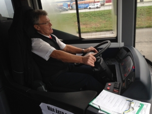 Test drive of electric bus in Karlskrona November 2014. Photo: Sven Borén