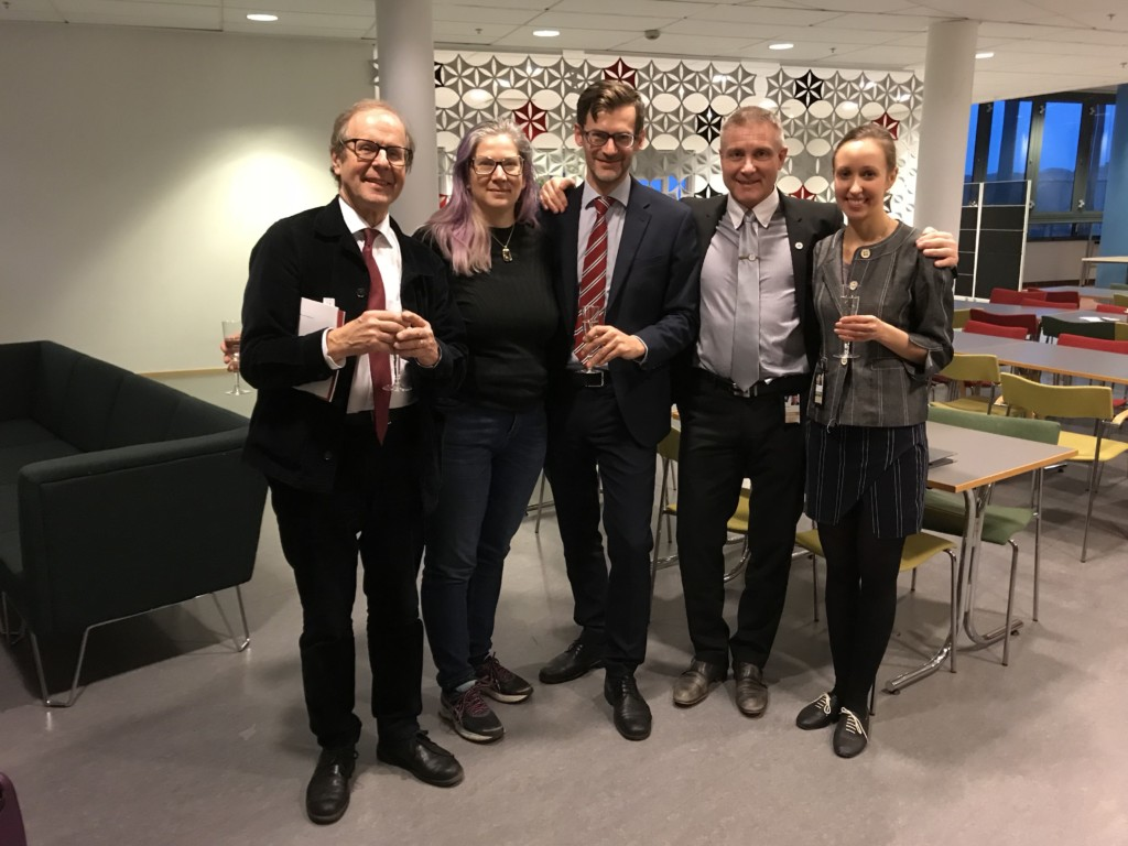 Varvara celebrating her licentiate with (from the left) Ulf Ranhagen, Henrikke (Kikki) Baumann, Henrik Ny, and Göran Broman.